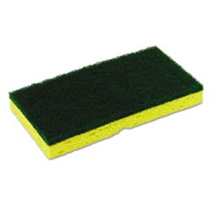 Medium-Duty Scrubber Sponge, 3 1/8 x 6 1/4 in, Yellow/Green, 5/PK, 8 PK/CT