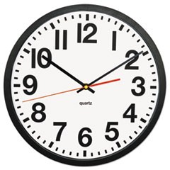 "Large Numeral Clock with Auto Daylight Savings Adjustment, 13"" Overall Diameter, Black Case, 1 AA (sold separately)"