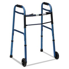 "Two-Button Release Folding Walker with Wheels, Blue/Blue Ice, Aluminum, 32-38""H"