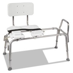 "1Heavy-Duty Sliding Transfer Bench with Cut-Out Seat, 19-23""H, 15 x 19 Seat"
