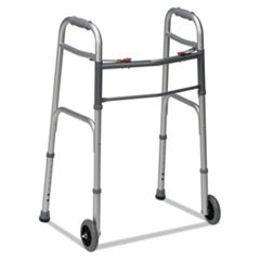 "Two-Button Release Folding Walker with Wheels, Silver/Gray, Aluminum, 32-38""H"