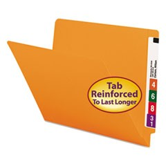 Reinforced End Tab Colored Folders, Straight Tab, Letter Size, Orange, 100/Box