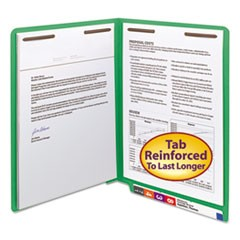 Heavyweight Colored End Tab Folders with Two Fasteners, Straight Tab, Letter Size, Green, 50/Box