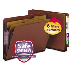 End Tab Pressboard Classification Folders with SafeSHIELD Coated Fasteners, 2 Dividers, Letter Size, Red, 10/Box