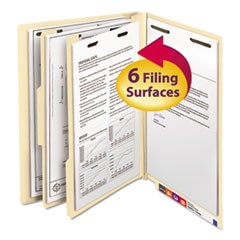 Manila End Tab Classification Folders, 2 Dividers, Letter Size, Manila, 10/Box