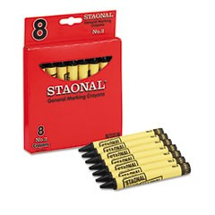 Staonal Marking Crayons, Black, 8/Box
