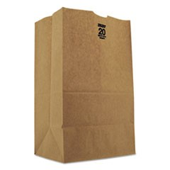 #20 Squat Paper Grocery, 50lb Kraft, Heavy-Duty 8 1/4 x5 5/16 x13 3/8, 500 bags