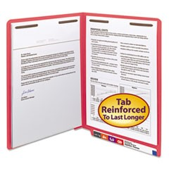Heavyweight Colored End Tab Folders with Two Fasteners, Straight Tab, Letter Size, Red, 50/Box