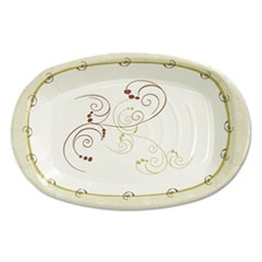 Clay-Coated Paper Plate, 8 x 6, Symphony Design, Mediumweight, 125/PK, 8 PK/CT