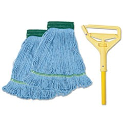 "Looped-End Mop Kit, Medium, 60"" Metal/Polypropylene Handle, Blue/Yellow"