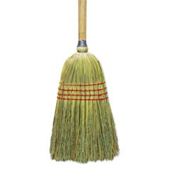 "Upright Corn/Fiber Broom, 56"", Lacquered Wood Handle, Natural, 6/Carton"