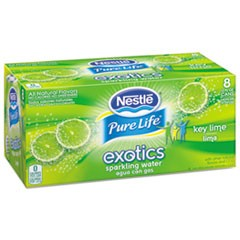 Pure Life Exotics Sparkling Water, Key Lime, 12 oz Can, 8/Pack, 3 Pack/Carton