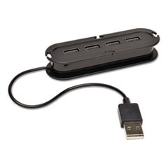 USB 2.0 Ultra-Mini Compact Hub with Power Adapter, 4 Ports, Black