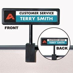 People Pointer Cubicle Sign, Plastic, 8.5 x 2, Black