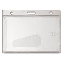 Frosted Rigid Badge Holder, 3 3/8 x 2 1/8, Clear, Horizontal, 25/BX