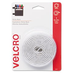 Sticky-Back Hook and Loop Fastener Tape with Dispenser, 3/4 x 5 ft. Roll, White