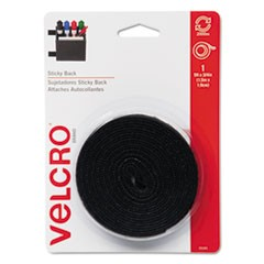 Sticky-Back Hook and Loop Fastener Tape with Dispenser, 3/4 x 5 ft. Roll, Black