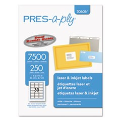 Laser Address Labels, 1 x 2 5/8, White, 7500/Box