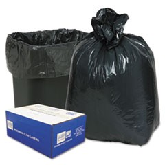 "Linear Low-Density Can Liners, 16 gal, 0.6 mil, 24"" x 33"", Black, 500/Carton"