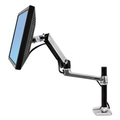 LX Series LCD Arm, Desk Mount with Tall Pole, Polished Aluminum/Black