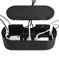 "Large Cable Tidy Units, 16.5"" x 6.5"" x 5.25"", Black"