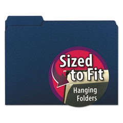 Interior File Folders, 1/3-Cut Tabs, Letter Size, Navy Blue, 100/Box