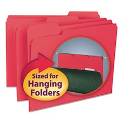 Interior File Folders, 1/3-Cut Tabs, Letter Size, Red, 100/Box