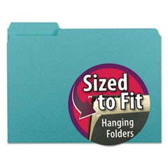 Interior File Folders, 1/3-Cut Tabs, Letter Size, Aqua, 100/Box