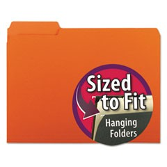 Interior File Folders, 1/3-Cut Tabs, Letter Size, Orange, 100/Box
