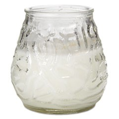 "Victorian Filled Glass Candles, 60 Hour Burn, 3 3/4""h, Clear, 12/Carton"