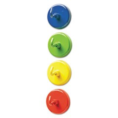 "Super Strong Magnetic Hooks, 1 1/2"" Diameter, Blue, Green, Red, Yellow, 4/Pack"
