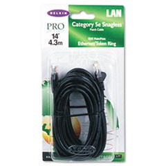 CAT5e Snagless Patch Cable, RJ45 Connectors, 14 ft., Black