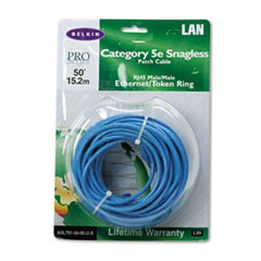 CAT5e Snagless Patch Cable, RJ45 Connectors, 50 ft., Blue