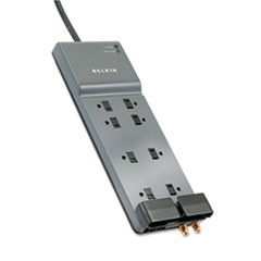 Home/Office Surge Protector, 8 Outlets, 12 ft Cord, 3390 Joules, Dark Gray