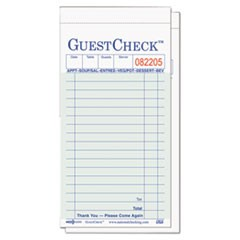 Guest Check Pad, 3 1/2 x 6 3/4, Green/White, 50/Carton