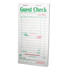 Guest Check Book, 3 1/2 x 6 7/10, Green/White, 50/Book, 50 Books/Carton
