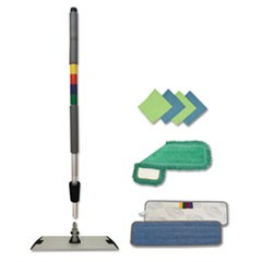 "Microfiber Mopping Kit, 18"" Mop Head, 35-60""Handle, Blue/Green/Gray"