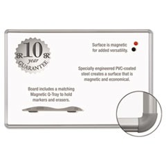 Magne-Rite Magnetic Dry Erase Board, 36 x 48 White, Silver Frame