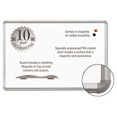 Magne-Rite Magnetic Dry Erase Board, 72 x 48, White, Silver Frame