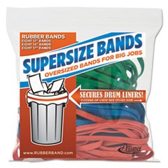 "SuperSize Bands, 0.25"" Width x Assorted Lengths, 4060 psi Max Elasticity, Assorted Colors, 24/Pack"