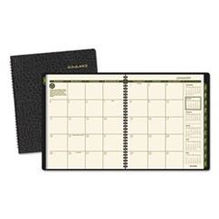 Recycled Monthly Planner, 9 x 11, Black, 2018-2019