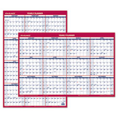 Erasable Vertical/Horizontal Wall Planner, 24 x 36, Blue/Red, 2019