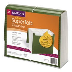 SuperTab Expanding File, 12 Pockets, Letter, Green