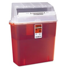 Sharps Container for Patient Room, Plastic, 3gal, Rectangular, Red