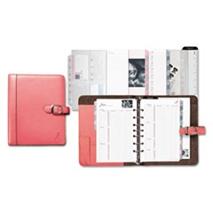Pink Ribbon Loose-Leaf Organizer Set, 5 1/2 x 8 1/2, Pink Leather Cover