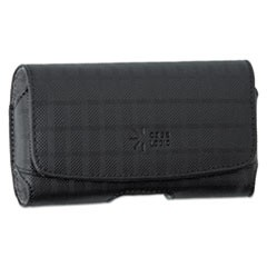 Horizontal Pouch for Belt, Plaid Design, Black