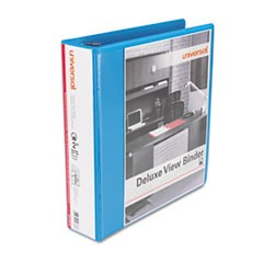 "Deluxe Round Ring View Binder, 2"" Capacity, Light Blue"