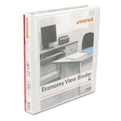 "Economy Round Ring View Binder, 1"" Capacity, White, 12/Carton"
