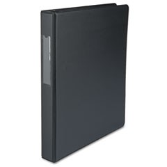 "Economy Non-View Round Ring Binder With Label Holder, 1"" Capacity, Black"