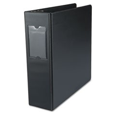 "Economy Non-View Round Ring Binder With Label Holder, 3"" Capacity, Black"